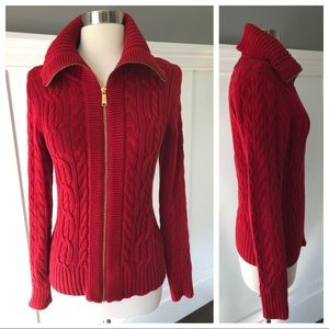 Ralph Lauren Cable Knit Red Zip Sweater